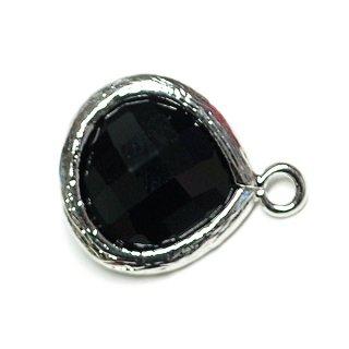 【1個】オニキスブラックカラーMediumマロン形ガラスシルバーチャーム、パーツ