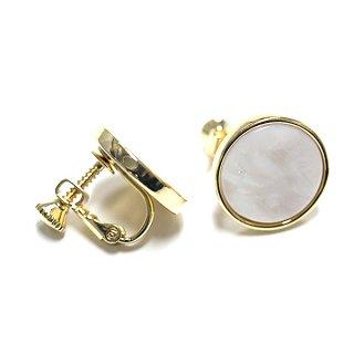 【1ペア】ホワイトオパールカラー16mm円形イヤリング、パーツ