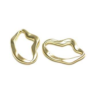 【2個入り】歪みある曲線のirregular Ovalマッドゴールドチャーム、パーツ