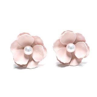 【1ペア】Anemonneライトピンクカラーパール付き花チタン芯ピアス