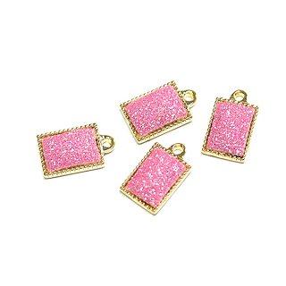 【4個入り】キラキラShinnyローズピンクカラー約11*8mmゴールドチャーム、パーツ