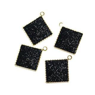 【4個入り】約11mmキラキラShinnyブラックカラー正方形ゴールドチャーム、パーツ