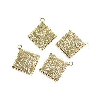 【4個入り】約11mmキラキラShinnyゴールドカラー正方形ゴールドチャーム、パーツ