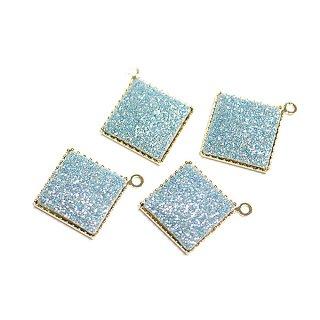 【4個入り】約11mmキラキラShinnyライトブルーカラー正方形ゴールドチャーム、パーツ