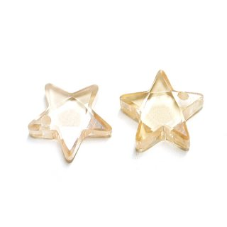 【1個】Light Peachライトピーチカラー星形キュービックジルコニア、ビーズ、パーツ
