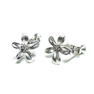 【1ペア】Exotic Flower花モチーフマットシルバーネジバネ&カン付きイヤリング、パーツ
