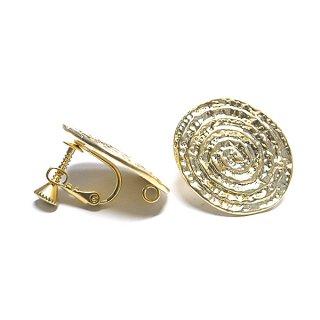 【1ペア】大振り渦巻き楕円形マッドゴールドカン&ネジバネ付きイヤリング、パーツ