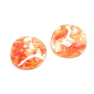 【2個入り】両穴!曲線の円形Orange&Yellowカラー約30mm円形チャーム、パーツ