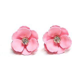 【1ペア】桜ピンクカラーに輝く一粒ストーン花チタン芯ピアス
