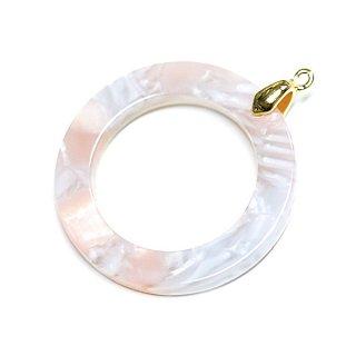 【2個入り】ライトピンク&ホワイト模様ミックスカラー約25mmチャーム、パーツ