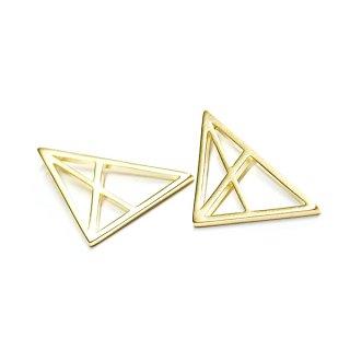 【2個入り】Spider Triangle 三角形マットゴールドチャーム、パーツ