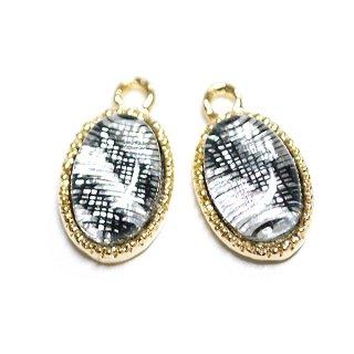 【4個入り】Silver&Black模様入り楕円形ゴールドチャーム、パーツ