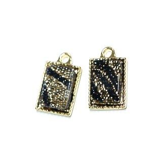【4個入り】Gold&Black模様入り プチ長方形ゴールドチャーム、パーツ
