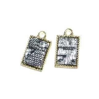 【4個入り】Silver&Black模様入り プチ長方形ゴールドチャーム、パーツ