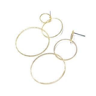 【1ペア】繊細なツイストのTrio Circle光沢ゴールドチタン芯ピアス、パーツ
