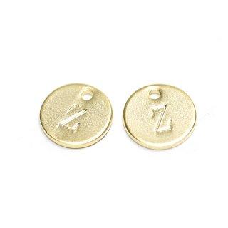 【2個入り】大文字 Z イニシャル プチ円形マッドゴールドチャーム、パーツ