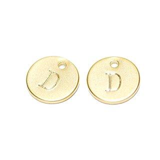 【2個入り】大文字 D イニシャル プチ円形マッドゴールドチャーム、パーツ