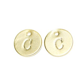 【2個入り】大文字 C イニシャル プチ円形マッドゴールドチャーム、パーツ