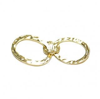 【1個】凹凸ある大ぶり!3連楕円形マッドゴールドチャーム、パーツ