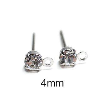 【6個(3ペア)】チタン芯!4mmクリスタルカラーチェコストーン&カン付きシルバーピアス、パーツ