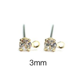 【6個(3ペア)】チタン芯!3mmクリスタルカラーチェコストーン&カン付きゴールドピアス、パーツ