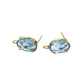 【1ペア】925刻印芯!ロイヤルブルーカラーCrack Glassゴールドカン付きシルバー925芯ピアス、パーツ