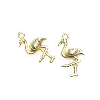 【2個入り】フラミンゴ Flamingoモチーフマッドゴールドチャーム、パーツ