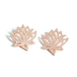 【2個入り】質感ある繊細なダリアDahlia花モチーフピンクゴールドチャーム、パーツ