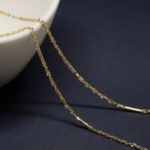 【1メートル 1meter】華奢な線&ツイスト約1.55mm ゴールドプレート真鍮チェーン