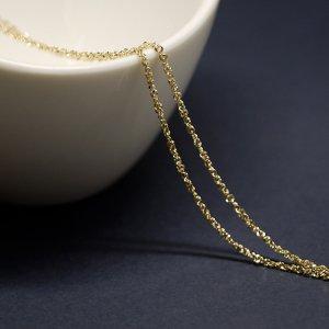 【1メートル 1meter】キラキラツイスト約1.53mm ゴールドプレート真鍮チェーン