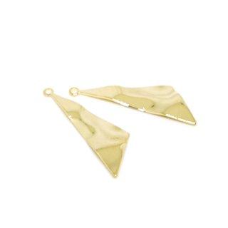 【2個入り】表面曲線の三角形光沢ゴールドチャーム、パーツ