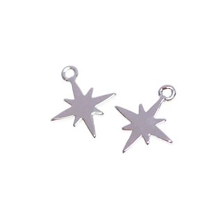 【2個入り】Sparkle Star 星モチーフシルバーチャーム、パーツ