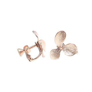【1ペア】花びらPetal Flowerマッドピンクゴールドネジバネ イヤリング、パーツ