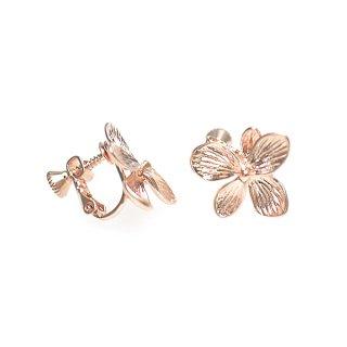 【1ペア】Hawaiian Flowerマッドピンクゴールドネジバネ付きイヤリング、パーツ