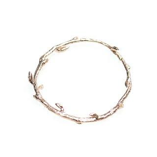 【1個】繊細な枝〜Circle Branch円形マッドピンクゴールドチャーム、パーツ