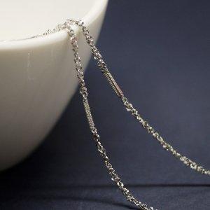 【1メートル 1meter】華奢なバー&ツイスト約1.55mm シルバー真鍮チェーン
