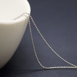 【2メートル 2meter】約1mm ボール Ball 純ロジウムシルバー真鍮チェーン
