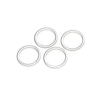 【4個入り】マッドシルバー15mm円形チャーム、パーツ