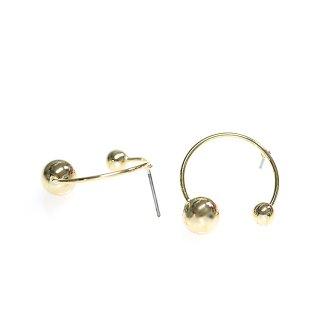 【1ペア】チタン芯!大きさ違いのボール付きサークル形ゴールドピアス、パーツ