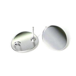 【1ペア】チタン芯!つるんとした楕円形のマットシルバーカン付きピアス、パーツ