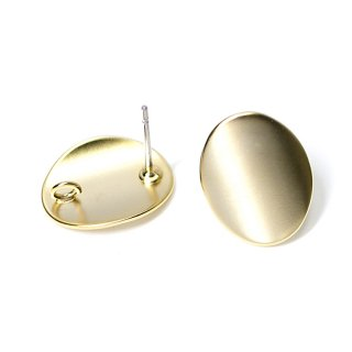 【1ペア】チタン芯!つるんとした楕円形のマットゴールドカン付きピアス、パーツ