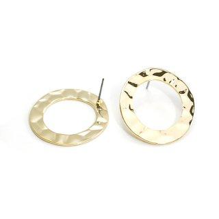 【1ペア】チタン芯!表面曲線の27mm大ぶりサークル形ゴールドピアス、パーツ