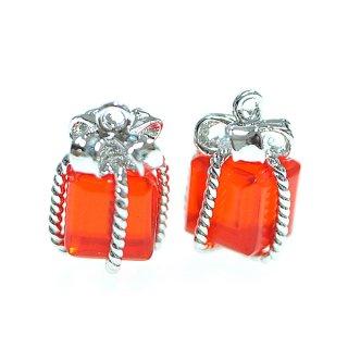 【2個入り】GlassスカレットオレンジーカラープチJewelボックスシルバーチャーム
