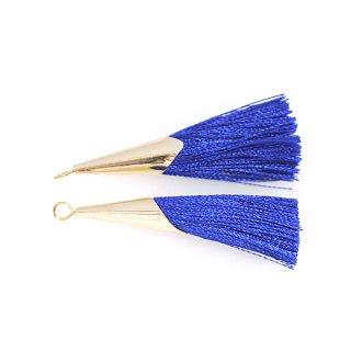 【2個入り】上品なインペリアルブルーカラーロング糸タッセル シンプルゴールドキャップ付きチャーム