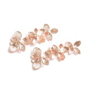 【1個】バラして使えるTrio Hawaiian Flower マッドピンクゴールドチャーム、パーツ