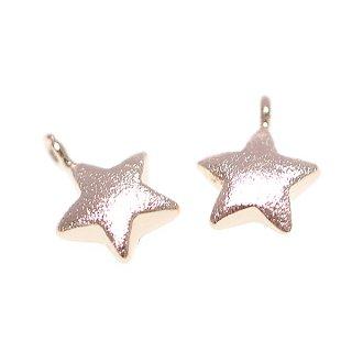 【2個入り】質感あるピンクゴールドPetit Starスターモチーフ タテカン付きチャーム