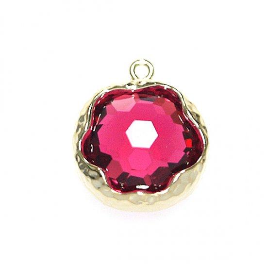 【1個】ルビーカラーボリューム円形ガラスゴールドチャーム、パーツ