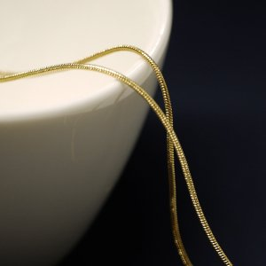 【1メートル 1meter】約1mm スネーク Snakeゴールドプレート真鍮チェーン