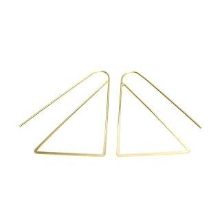【2個入り】マッドゴールド大ぶりトライアングル(三角形)ピアスフック、パーツ