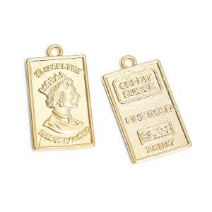 【2個入り】エリザベス ELIZABETH ll FINE GOLD スクエア形マッドゴールドペンダント、チャーム